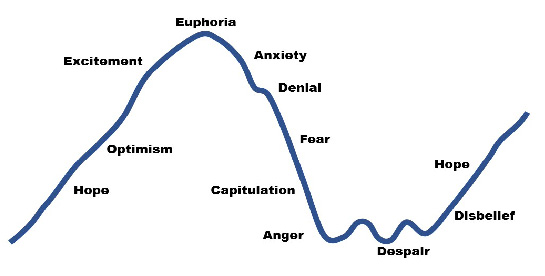 The investor cycle moves from hope to despair over and over.